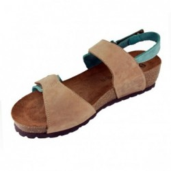 Sabatini 927 Tortora/Jeans - Sandalo comodo con doppio strappo- Vera pelle